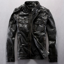 2014 New Stand Collar Slim Men s Leather Jackets Edging Do The Old First Layer Of