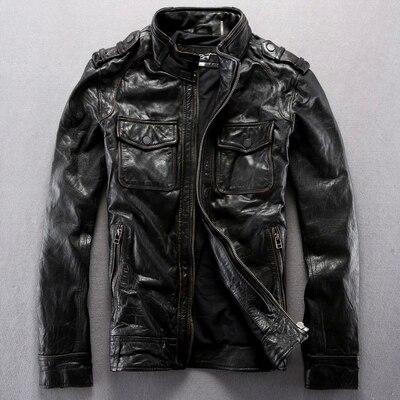 2014 New Stand Collar Slim font b Men s b font font b Leather b font