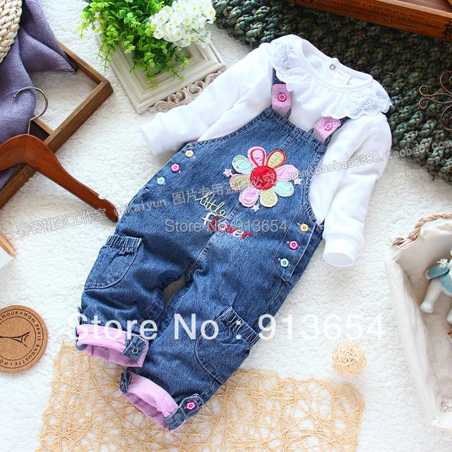 Novo 2013 primavera outono denim calças macacão roupas de bebê meninas flores Bib botão de pressão open virilha calças macacão