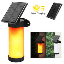 Street Light Outside Lights Solar Torch Human Body Induction Flame Lights Waterproof Flickering LED Simulated Flame Wall Lamp(China)