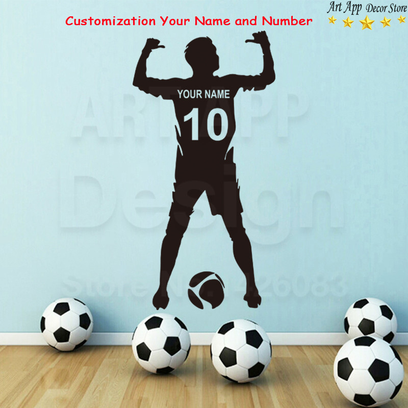 Top quality name art design cheap home decoration vinyl football player wall sticker removable number customization sport decals