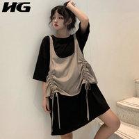HG 2019 New Dress Women Drawstring Two Piece Set Loose Plus Size Dress Korean Style Women Two Piece Outfits Tshirt WQR1034