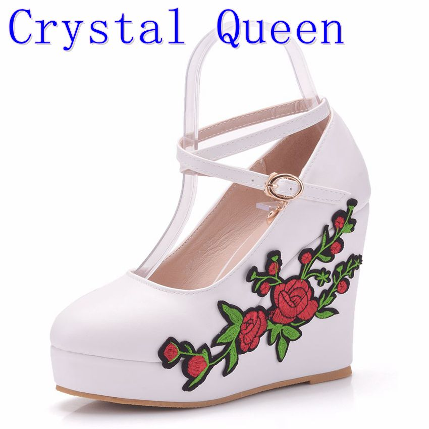 Crystal Queen White Wedge Heels Fashion Womens Elevator Shoes Shoes For Women Breathable Lace UP Height Increasing Shoes