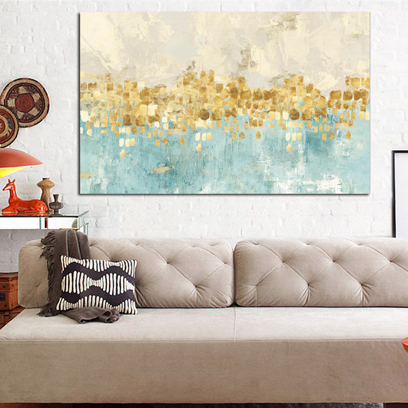 HD Print Modern Abstract Gold Money Sea Wave Oil Painting on Canvas Poster Modern Art Wall Picture for Living Room Cuadros Decor (2)