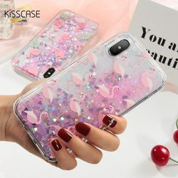 KISSCASE Quicksand Case Flamingo Pour iPhone 8 7 6 6 s Plus Cas Mignon Flamingo Dynamique Quicksand Sequin Pour iPhone X 8 7 6 s Cas