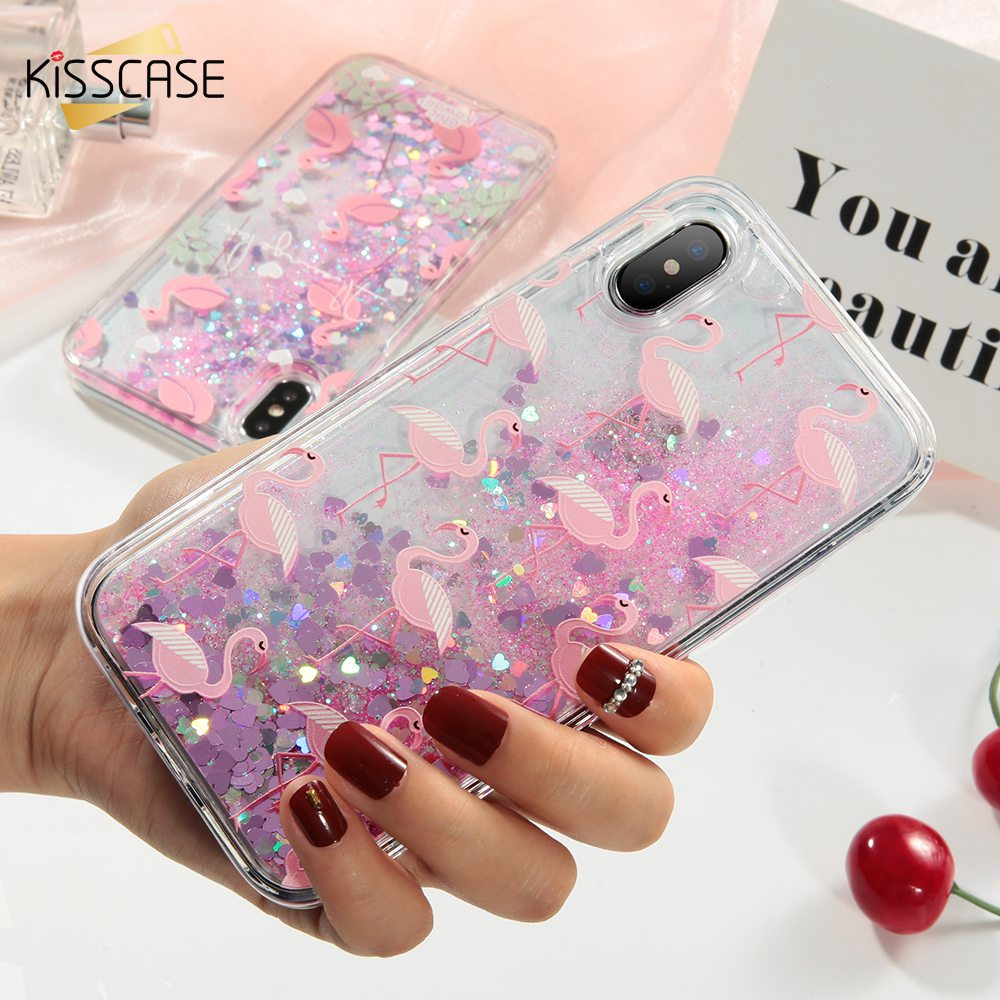 KISSCASE Quicksand Flamingo Case For iPhone 8 7 6 6s Plus Cases Cute Flamingo Dynamic Quicksand Sequin For iPhone X 8 7 6s Case