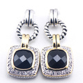 New Black Onyx Woman 925 Sterling Silver Crystal Earrings TE387