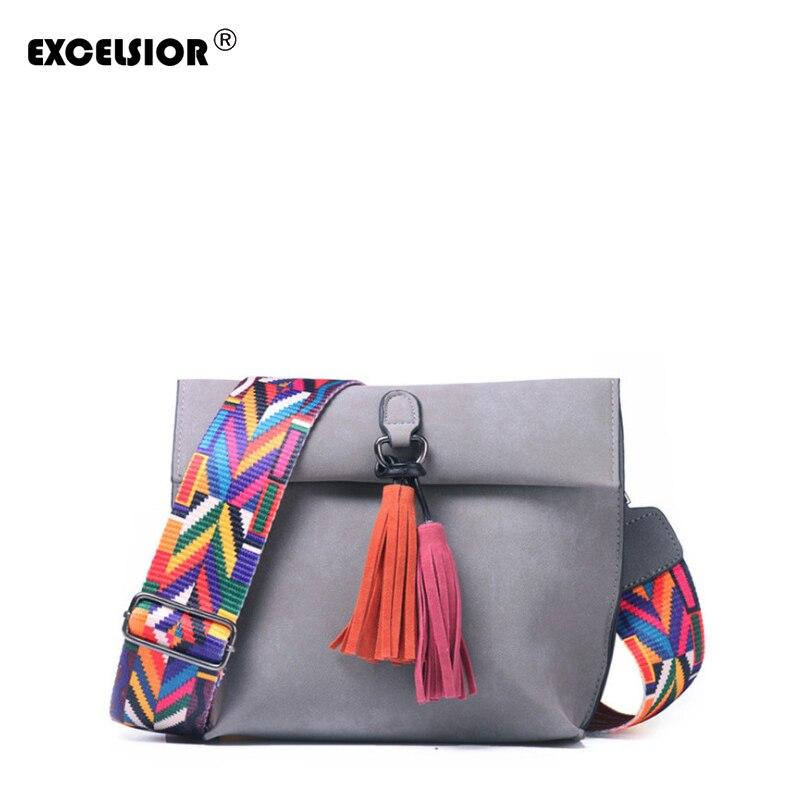 Bolsos de mujer de gran venta de excelente sior calidad Scrub PU bandolera bolso elegante de las mujeres bolsos de hombro de borla con colores correa