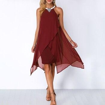 Plus Size Women Summer Round Neck Fashion Chiffon Sleeveless Dress Irregular Double Layer Beach Party sexy Loose Dresses 3