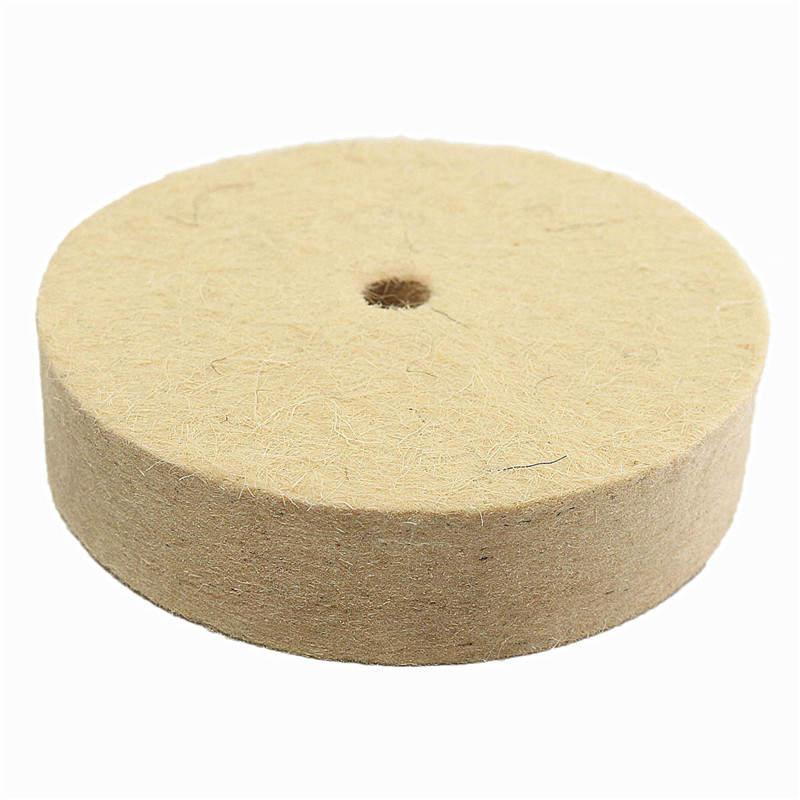 1Pc 4Inch Beige Polishing Buffing Grinding Wheel Wool Felt Polisher Disc Pad 100mmx25mm Polisher Pads 4 Inch