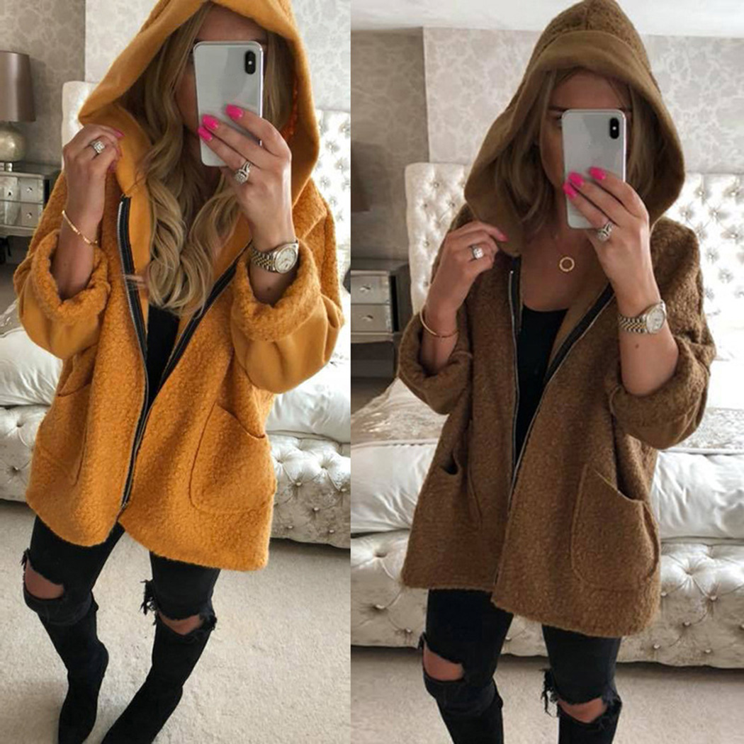 c29bbefa108 Detail Feedback Questions about Autumn Winter Faux Fur Jacket Teddy Bear  Coat Women Fleece Hooded Coat Overcoat Long Sleeve Loose Jackets Yellow  Brown Black ...