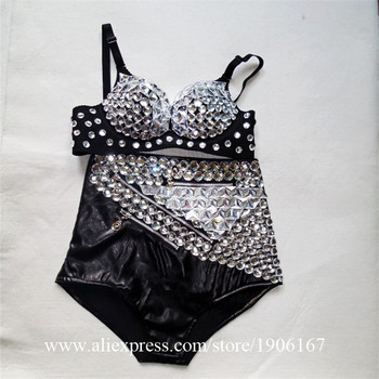 Sexy Lady Shiny Sequined Bra Rhinestone Short Nightclub Party Sexy Evening Mirror Outfit Stage Performance DJ Dancer DS Clothes