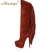 Nancyjayjii Women Fashion Wne Flock Shoes Woman Winter Wear Stiletto Heel Knee High Boots With Tessels