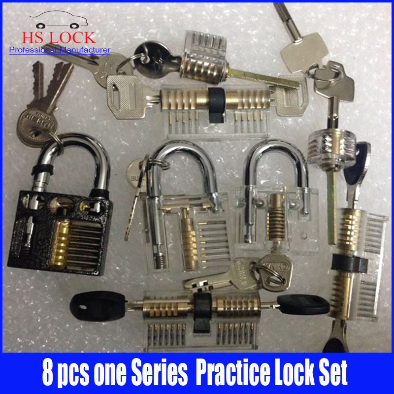 8 pcs Cutaway Inside View Of Practice Padlocks Lock Pick Tools Locksmith Training Skill Tools Set Hot sale 3pcs cutaway inside view of practice padlocks ab lock crescent lock tau lock pick tools locksmith training skill tools set