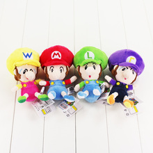 4 Styles Super Mario Bros Plush Toy Baby Mario Luigi Wario Waluigi Soft Stuffed Dolls for