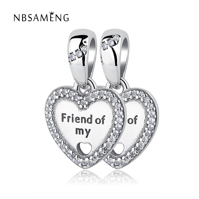 A Pair Authentic 925 Sterling Silver Bead Charm Friend Of My Heart Charms Pendant Fits Pandora Bracelet Women DIY Jewelry Making