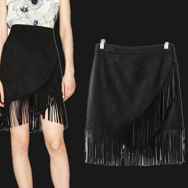 2019 New Fashion Tassel Stitching Suede Irregular Skirts Sexy Mini Skirt Patchwork Of Cotton And Artificial Velvet Clothes