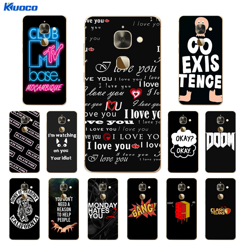 "For Leeco Le 2 Phone Case X527 Soft TPU Cover For Letv Le S3 X626 / Le 2 Le2 Pro 5.5"" X620 Silicone Black Letters Printing Capa"