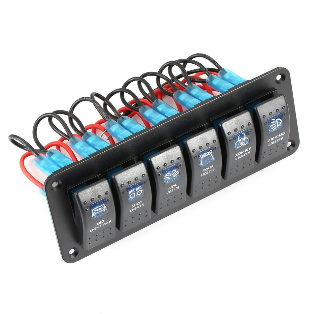 Marine Boat Caravan Rv Rocker Switch Panel Waterproof Led Circuit Black Breaker 12v 6 Gang Overload Protection Anti Corrosion In Car Switches Relays From