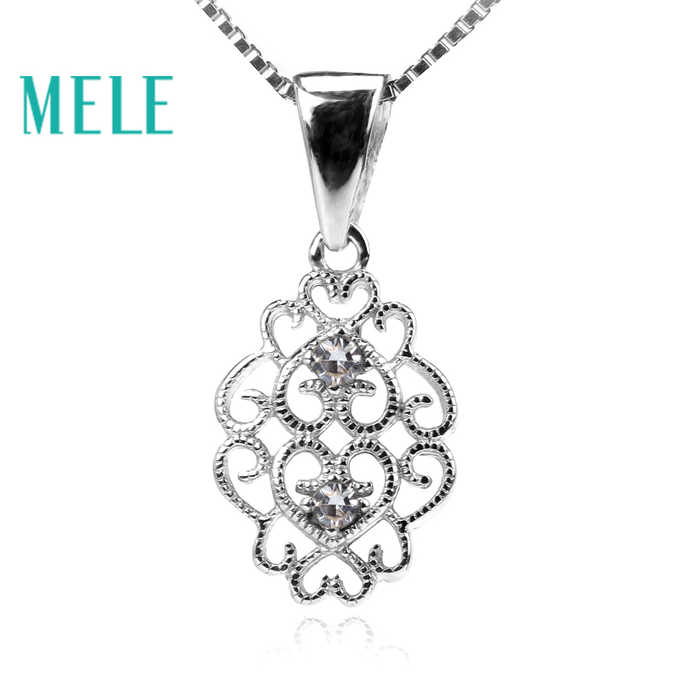 MELE fashion diamond pendant for women 0.04ctX2 1.8mm round cut color fire with 925 silver,fine jewelry for chirstmas gift