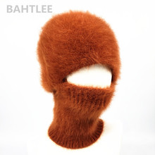 BAHTLEE 겨울 스키 마스크 Balaclava 앙고라 토끼 니트 모자 스카프 목 따뜻한 남자 또는 여자 양털 모자