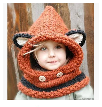 ФОТО Wholesale Fashion New Winter Children Cap Dome Knitted Hat Female Fox Hat Warm Cold Wool Hat Thick September 6