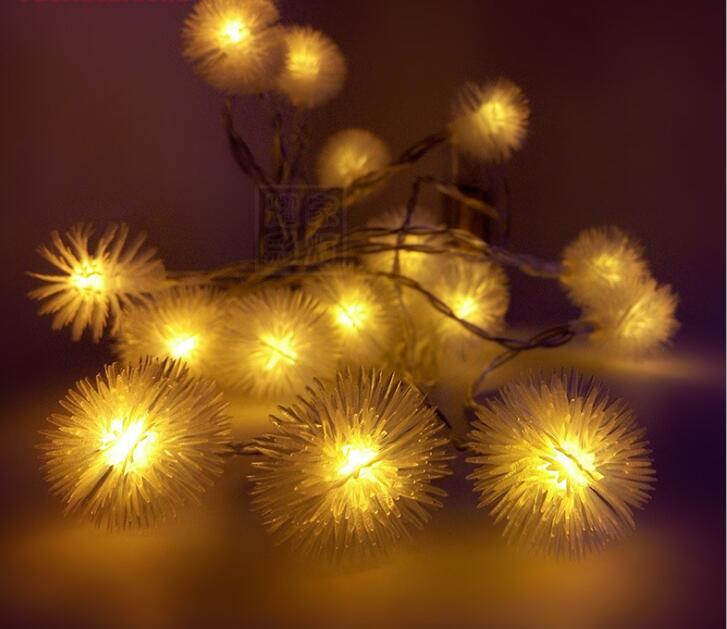 Dandelion Led Light Strip 220V vedenpitävä LED-nauha 2m 20 LED-merkkijonoja joulun jouluvalot Puutarha Sisustus