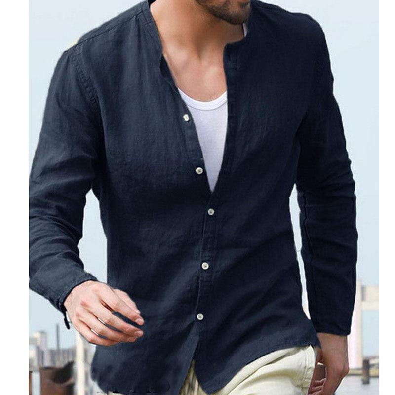 Men Long Sleeve Linen Shirt Loose Summer Autumn Casual V-Neck Shirts Tops M-2XL