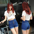 S M L XL 2XL 3XL 4 XLnew chegada mulheres denim shorts plus size sexy estilo coreano botão cintura alta shorts jeans feminino para