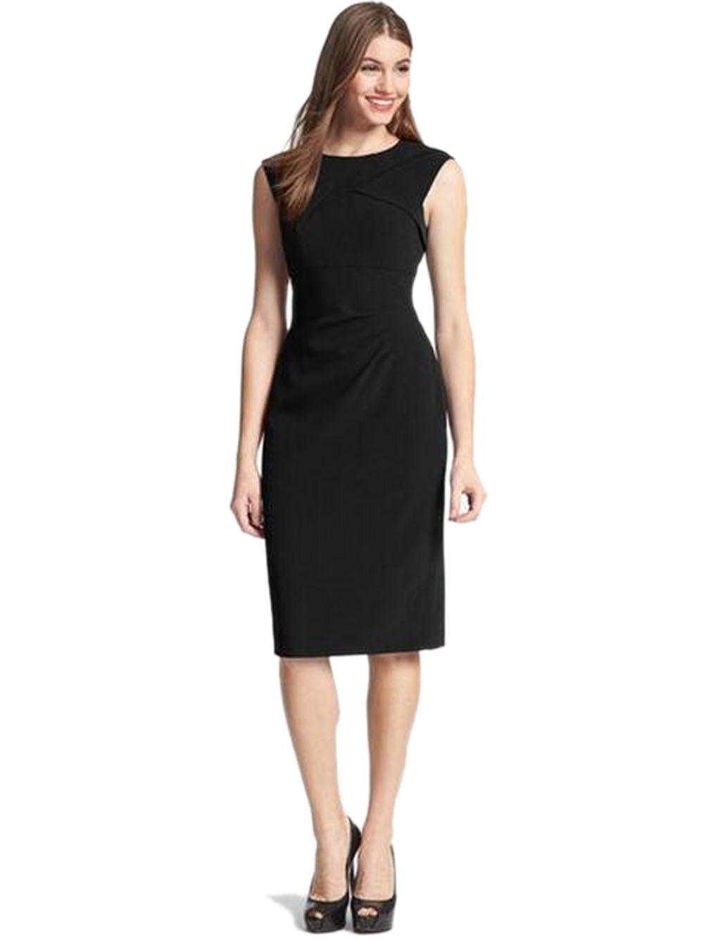 Black dress office - Crepe Dress Ruched Bodycon Elegant Work Office Dress Petite Casual Simple Sleeveless Little Black Dress Classy