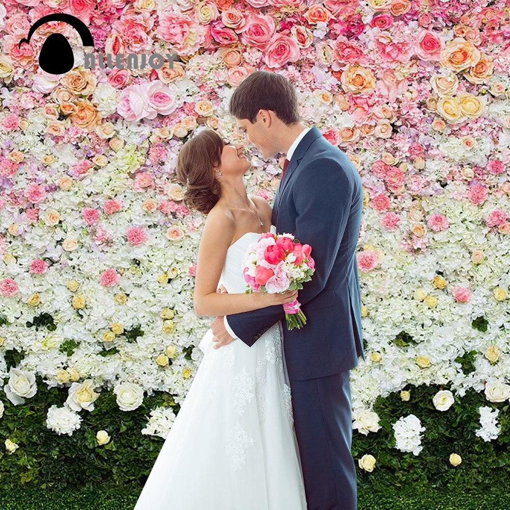 Allenjoy kāzu fotogrāfija Fona ziedi zāliena interjers bērnu fons - Kamera un fotoattēls