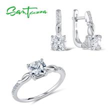 SANTUZZA Jewelry Sets For Women White Cubic Zirconia Jewelry Set Ring Earrings Pure 925 Sterling Silver Fashion Jewelry Set