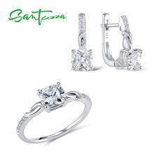 SANTUZZA Schmuck Sets Für Frauen Weiß Zirkonia Schmuck Set Ring Ohrringe Reine 925 Sterling Silber Mode Schmuck Set