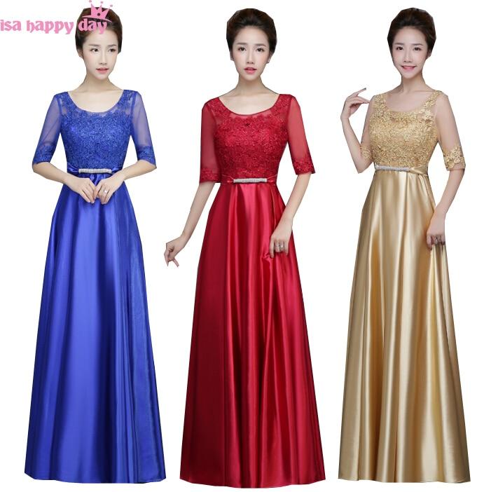 2019 New Fashion Women Royal Blue Satin Bridesmaid Long Brides Maid Bridal Elegant Party Dresses For Women For Wedding B3769
