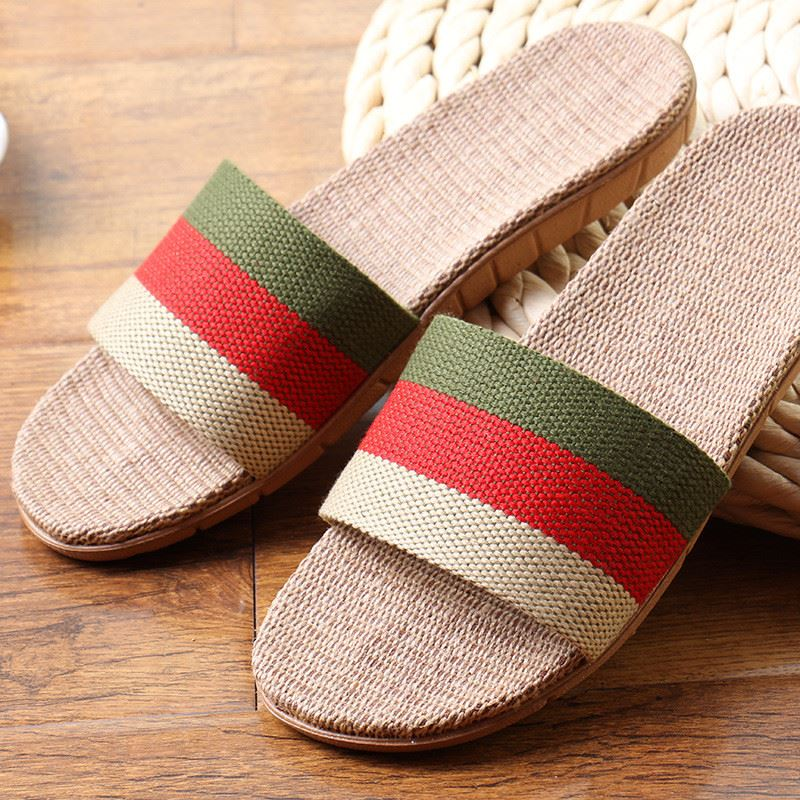 breathable indoor slippers men women shoes flax striped bedroom shoes
