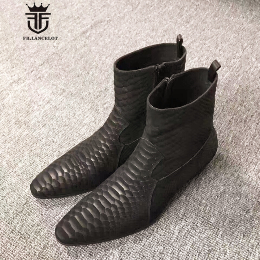 Personalized Exclusive Handmade Python pattern Cow Leather Pointed Toe Zip Ankle Boots Luxury Men Wedding Parting Slim Boots