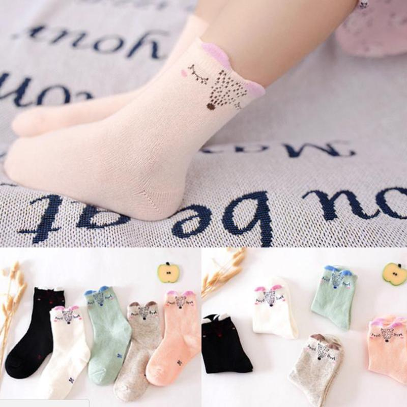 5 Pairs/Set Kids Warm Cotton Socks Infant Toddler Cotton Cartoon Socks Kids Boys Girls Soft Socks Fresh Color Socks For Baby