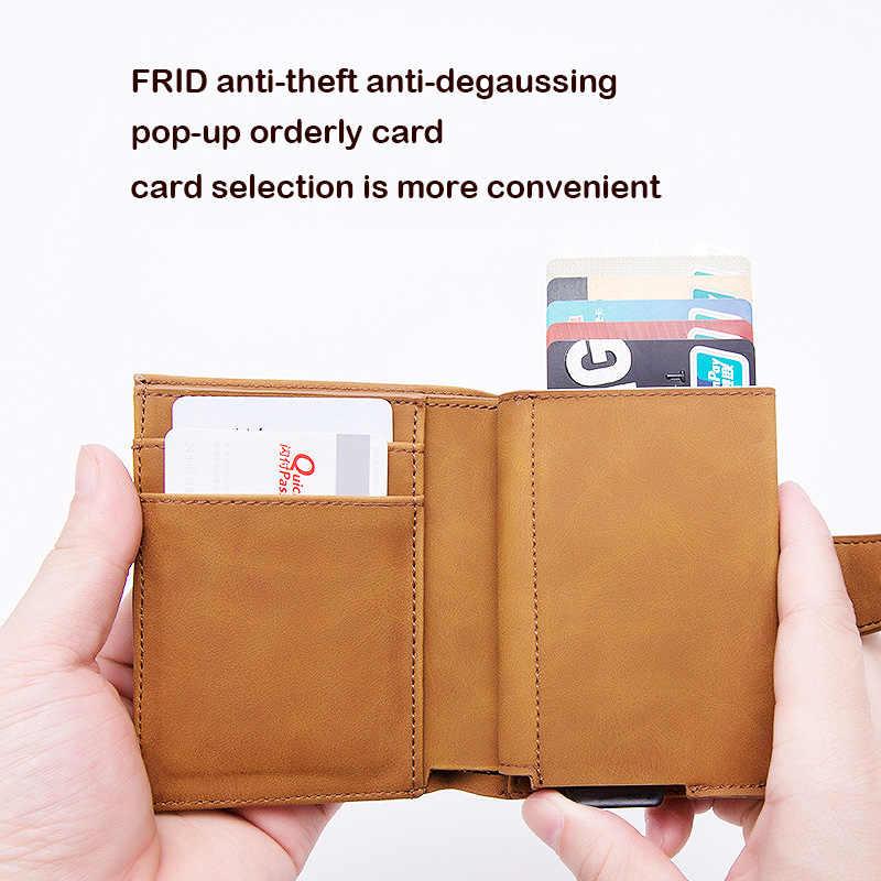 KEEBREAK защита от RFID алюминиевый мужской держатель для карт id держатель для банковской кредитной карты Чехол Мужской кожаный карманный минималистичный кошелек