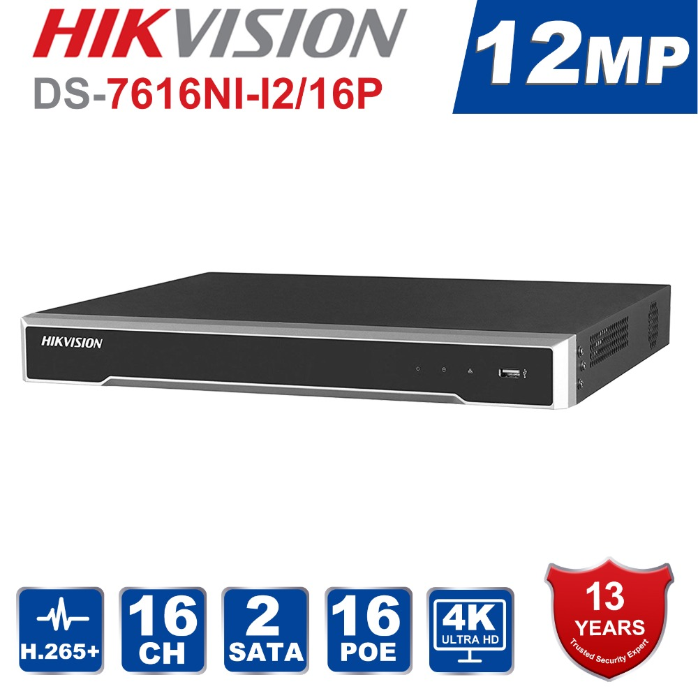 DS-7616NI-I2/16 p Inglese versione H.265 16 Canali NVR con 2 SATA e 16 porte POE HDMI VGA spina & play NVR POE 16ch VCA
