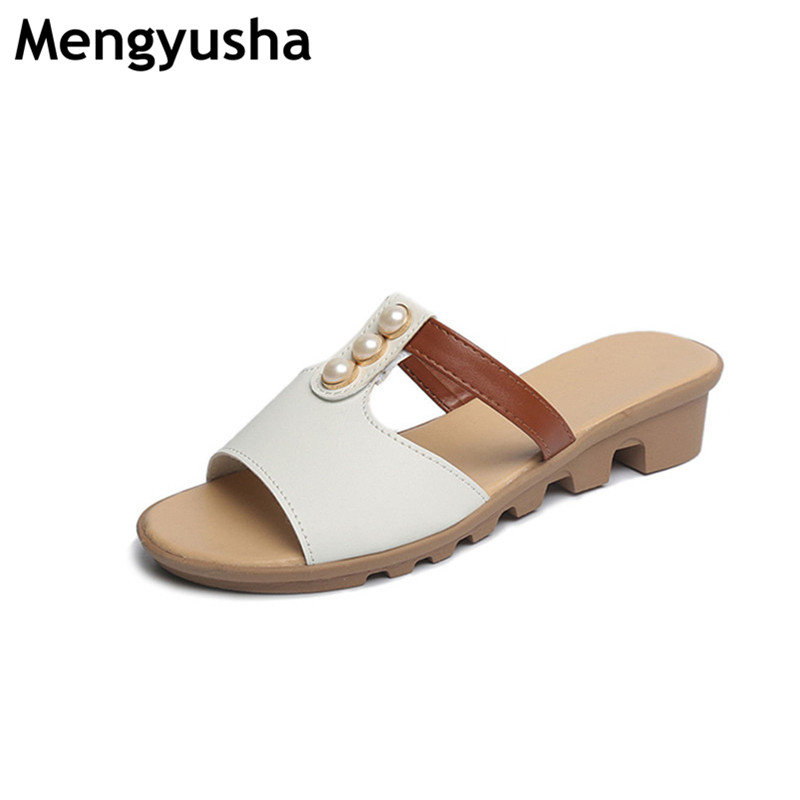 2018 New Women'S Sandals Cow Leather Women Flats Shoes Platform Wedges Female Slides Beach Flip Flops Summer Shoe Lady