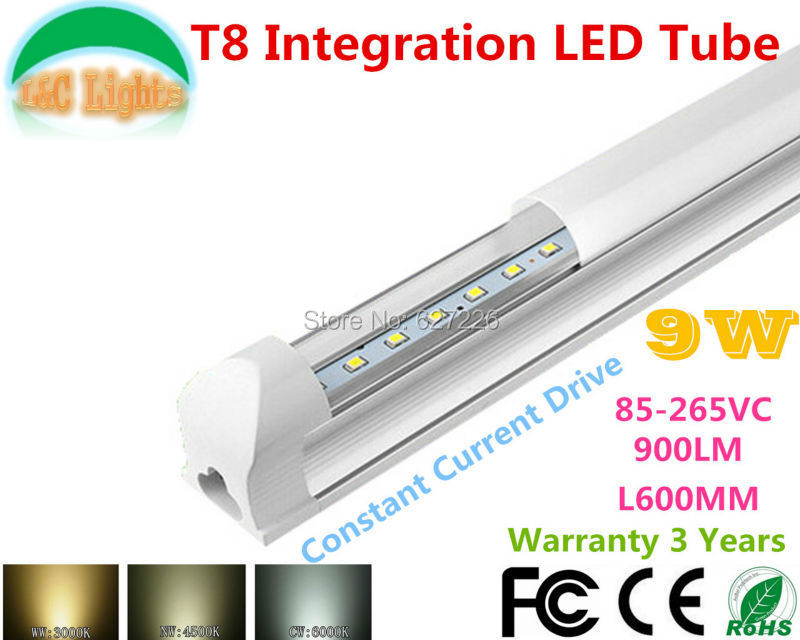 0 6M 9W Ultra Bright T8 Integration LED Tube 90 260VAC CE RoHS supermarket lights Parking energy saving lamps 10PCs a Lot in LED Bulbs Tubes from Lights Lighting