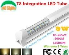 0.6M 9W Ultra Bright T8 Integration LED Tube 90-260VAC CE RoHS supermarket lights Parking energy-saving lamps 10PCs a Lot цены онлайн