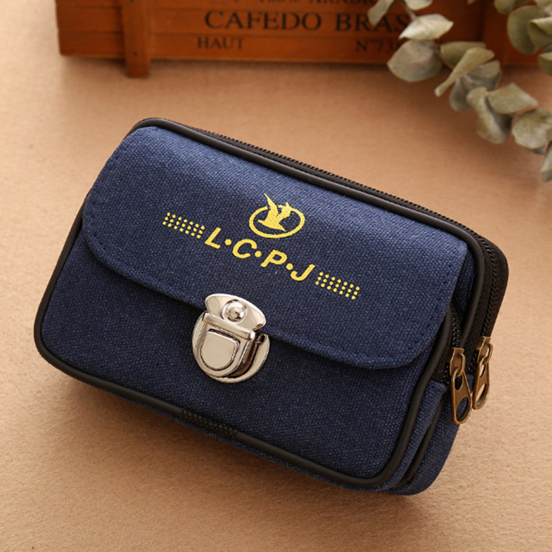 Men small phone pouch double zipper mobile belt Strap Hand pack bag waist cash purse travel male Pu leather belt slim pack bags double pocket mobile phone pouch arm bag with velcro strap black
