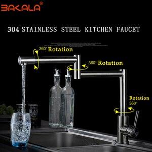 Image 2 - BAKALA 304 Stainless Steel Lead free Folding Kitchen Faucet Mixer 360 Degree Swivel Single Handle Nickel Kitchen Sink basin Taps