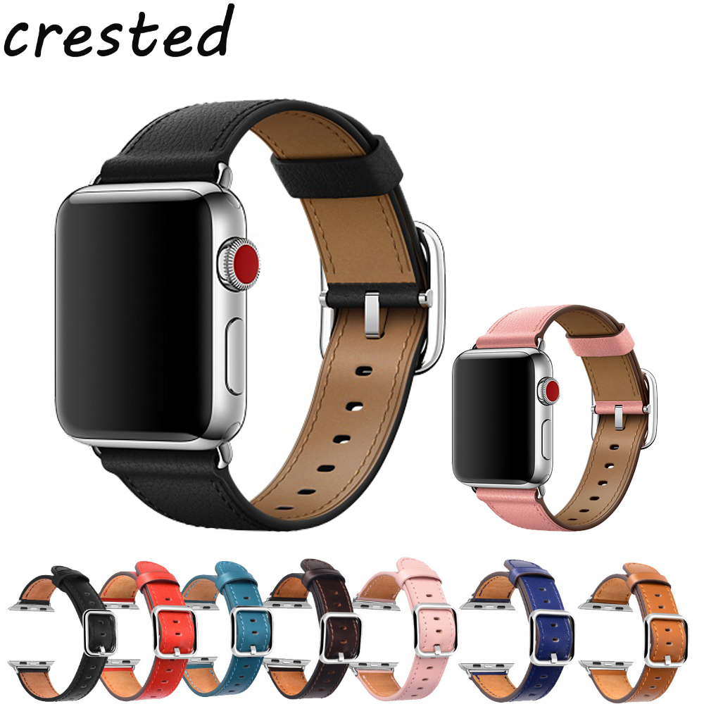 CRESTED Genuine Leather strap for apple watch band 42mm 38mm Classic Buckle belt bracelet watchband for iwatch 3/2/1 watch strap smart watch bracelet ceramic watch band for apple watch 38mm 42mm watchband butterfly buckle wristwatch strap belt not fade