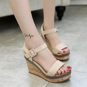 Image 4 - Women Super High Sandals Summer Platform Shoes Woman Gladiator Style Wedges Open Toe Female Fashion Footwear SH030809