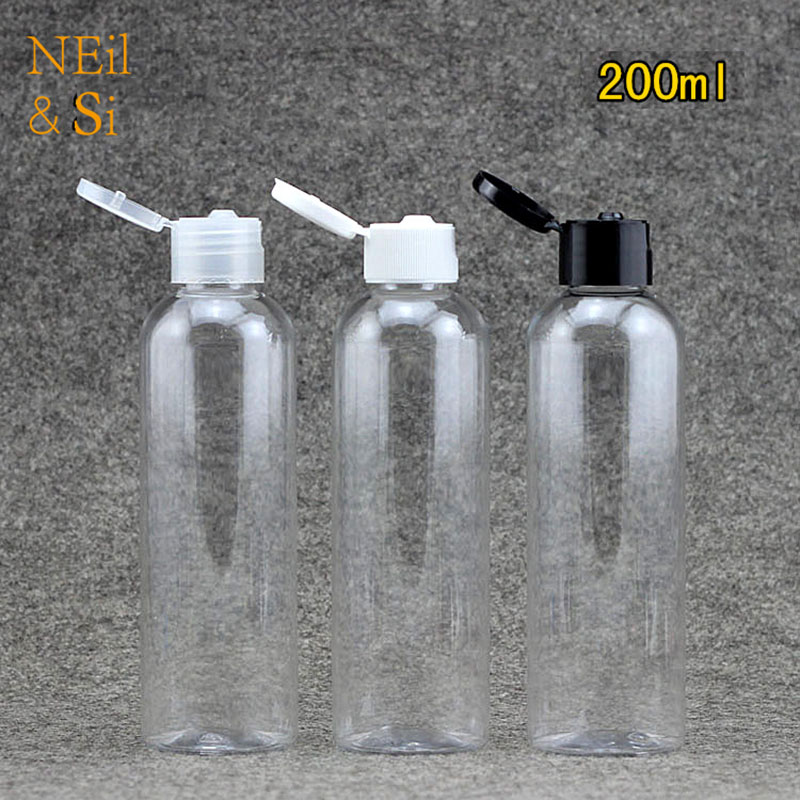 Free Shipping 200ml Plastic Cream Bottle Flip Cap Refillable Cosmetic Lotion Pack Empty Shower Gel Shampoo Bottles