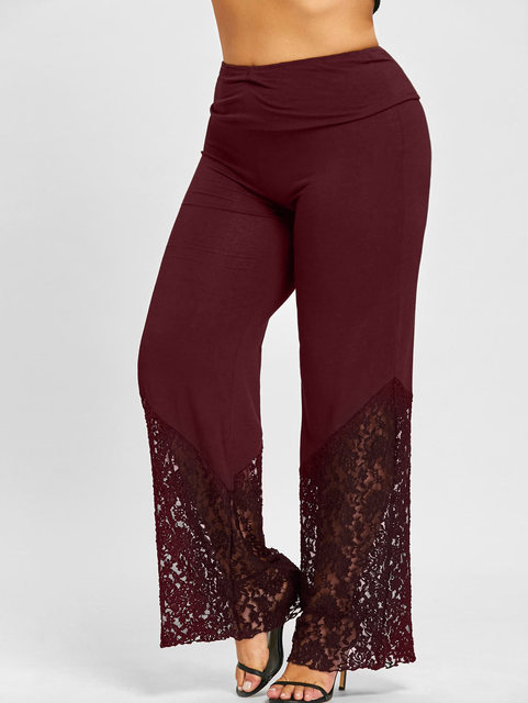 Plus Size Lace Trim Palazzo Pants Casual High Waist Wide Leg Long Pants