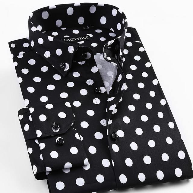 2017 Spring New Men Polka Dot Printing Long Sleeve Shirt Fashion Male Dress Shirts Casual Formal Cotton Shirt