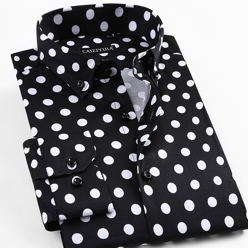 2019 Spring New Men Polka Dot Printing Long Sleeve Shirt Fashion Male Dress Shirts Casual Formal Cotton Shirt